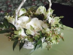 Basket for Natasha's flower girl. Antique basket with fresh flowers - wax flower, alstromeria, Italian ruscus